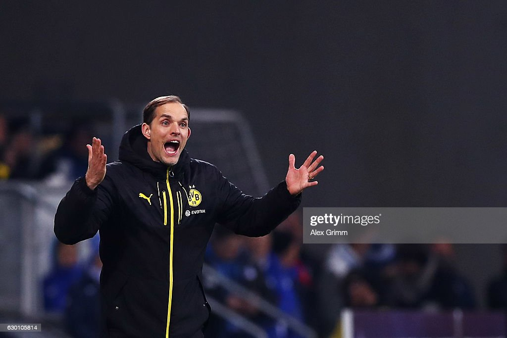 Borussia Dortmund Head Coach / Manager, Thomas Tuchel reacts on the sidelines during the Bundesliga match between TSG 1899 Hoffenheim and Borussia Dortmund at Wirsol Rhein-Neckar-Arena on December 16, 2016 in Sinsheim, Germany.