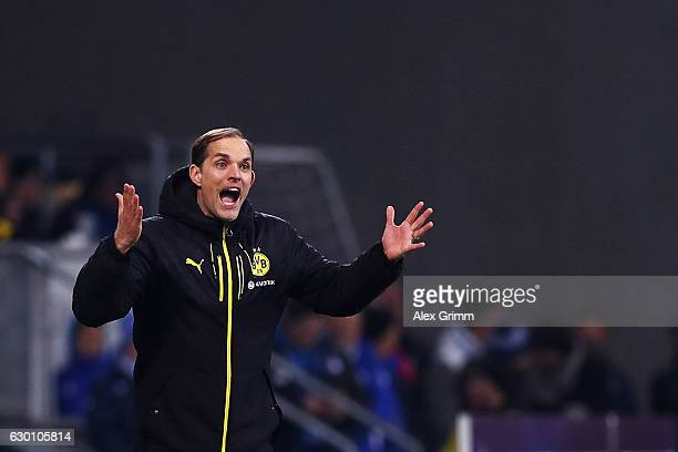 Borussia Dortmund Head Coach / Manager Thomas Tuchel reacts on the sidelines during the Bundesliga match between TSG 1899 Hoffenheim and Borussia...