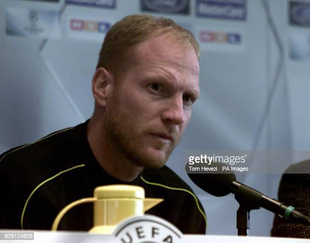 Borussia Dortmund Head Coach Matthias Sammer answers questions during the press conference at the Westfalenstadion Dortmund Germany ahead of his...