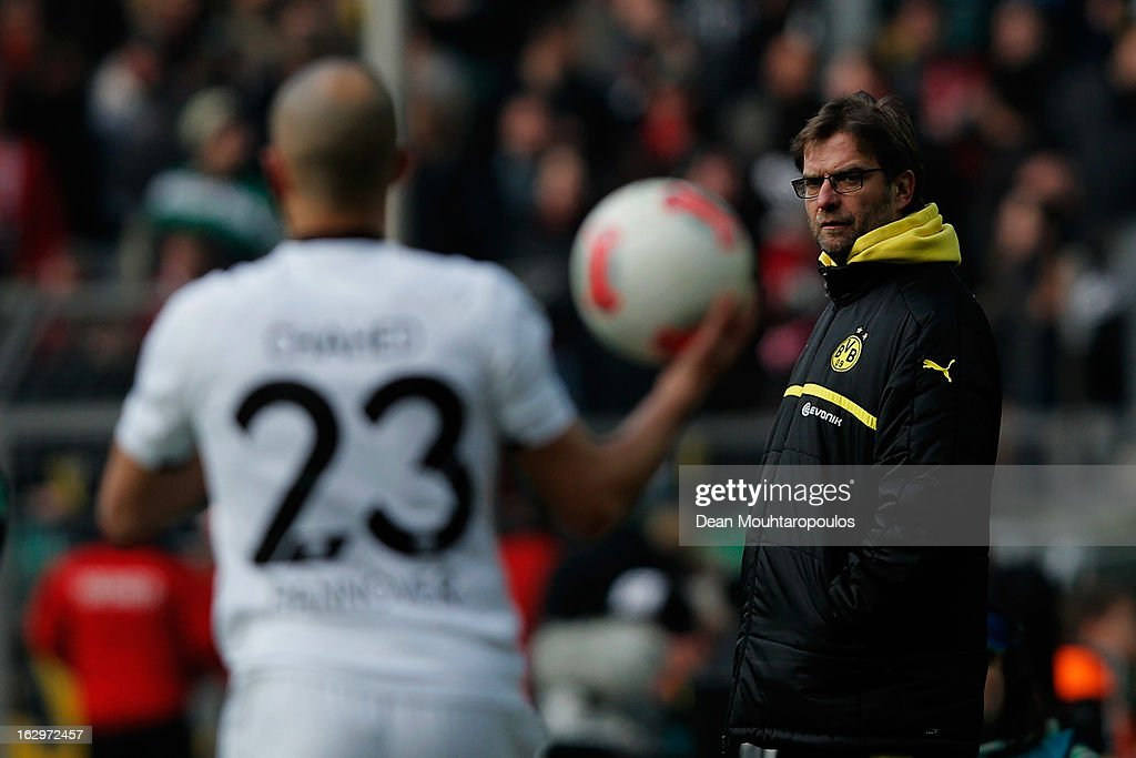 Borussia Dortmund manager Jurgen Klopp looks on from the sidelines during the Bundesliga match between Borussia Dortmund and Hannover 96 at Signal Iduna Park on March 2, 2013 in Dortmund, Germany.
