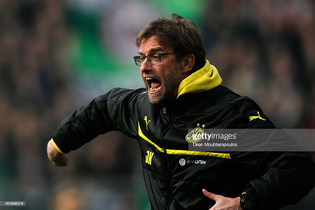 Borussia Dortmund manager Jurgen Klopp reacts to on the sidelines during the Bundesliga match between Borussia Dortmund and Hannover 96 at Signal Iduna Park on March 2, 2013 in Dortmund, Germany.