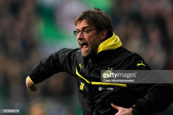 Borussia Dortmund manager Jurgen Klopp reacts to on the sidelines during the Bundesliga match between Borussia Dortmund and Hannover 96 at Signal...