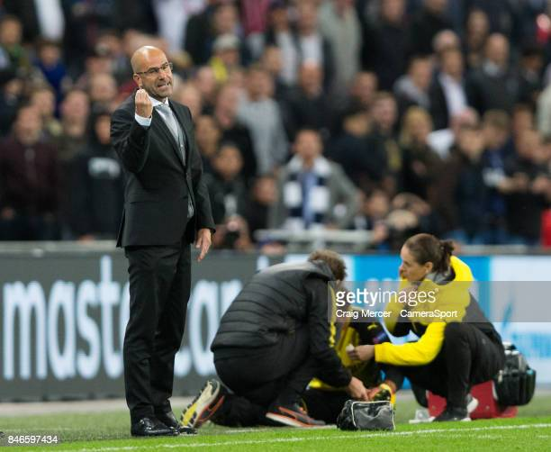 Borussia Dortmund manager Peter Bosz reacts during the UEFA Champions League group H match between Tottenham Hotspur and Borussia Dortmund at Wembley...