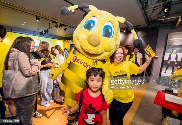 Borussia Dortmund mascot Emma during a meet and greet with fans in the Puma store Harajuku on July 14 2017 in Tokyo Japan