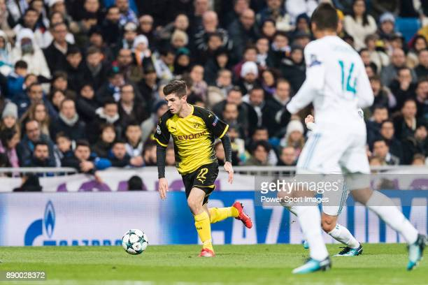Borussia Dortmund Midfielder Christian Pulisic in action during the Europe Champions League 201718 match between Real Madrid and Borussia Dortmund at...