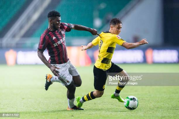 Borussia Dortmund Midfielder Emre Mor fights for the ball with AC Milan Midfielder Franck Kessie during the International Champions Cup 2017 match...