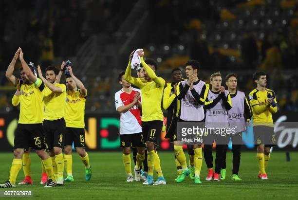 Borussia Dortmund players applaud the fans following the UEFA Champions League Quarter Final first leg match between Borussia Dortmund and AS Monaco...