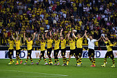 Borussia Dortmund players celebrate after the Bundesliga match between Borussia Dortmund and Borussia Moenchengladbach at Signal Iduna Park on August...