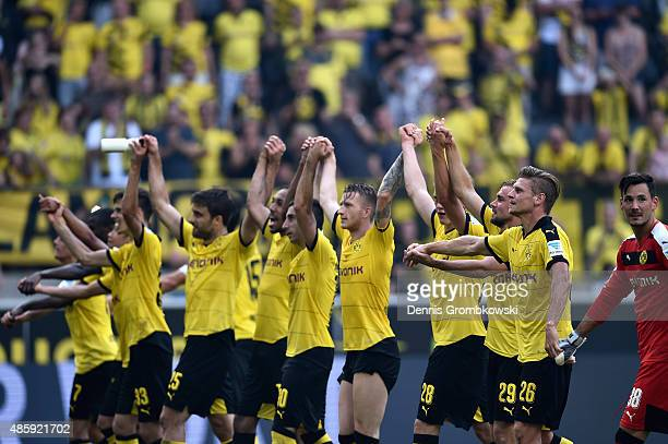 Borussia Dortmund players celebrate after the Bundesliga match between Borussia Dortmund and Hertha BSC at Signal Iduna Park on August 30 2015 in...