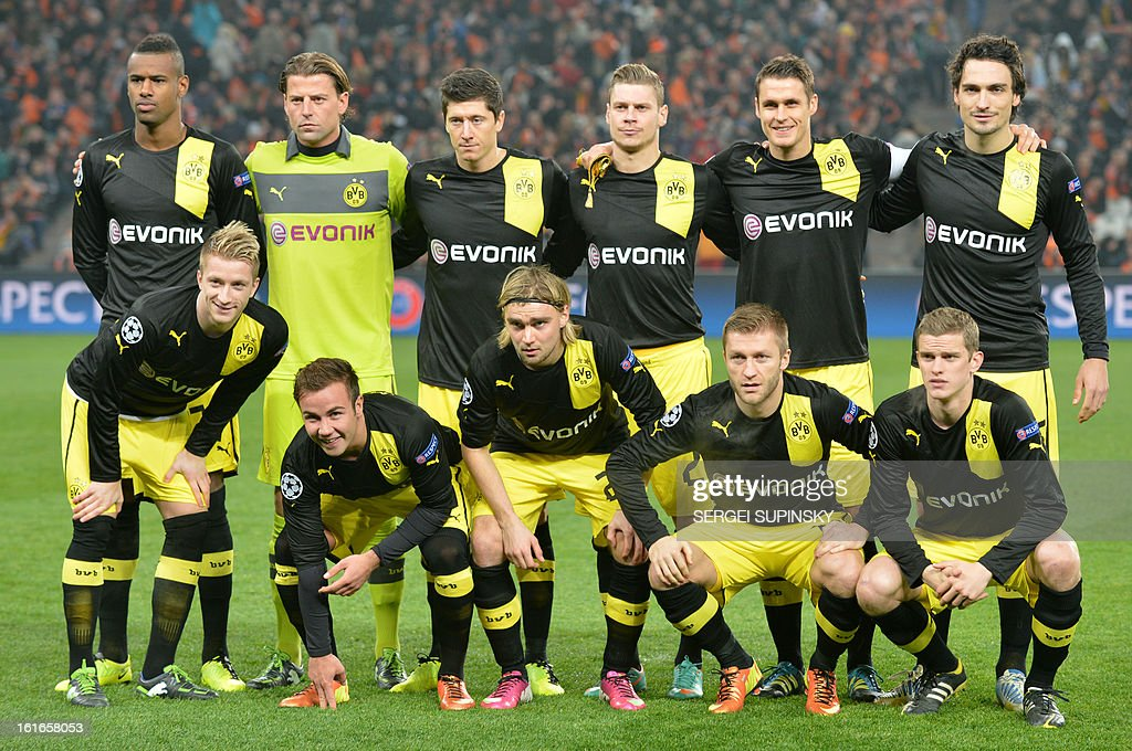 Borussia Dortmund players pose prior to an UEFA Champions League round of 16 first leg football match against FC Shakhtar in Donetsk on February 13, 2013.
