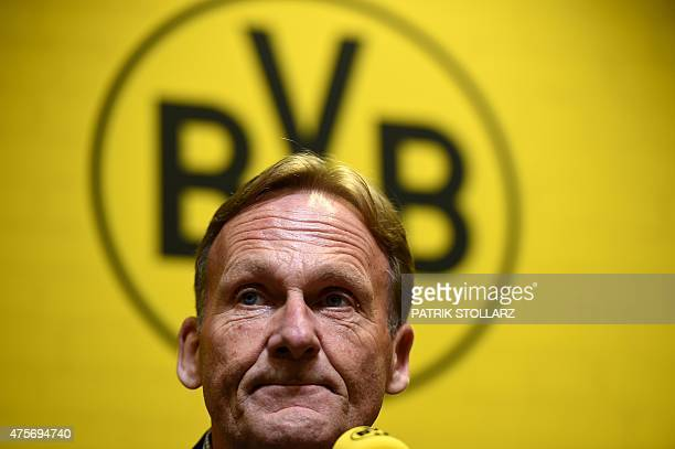 Borussia Dortmund ´s CEO HansGuenther Watzke attends a press conference of first division Bundesliga football club Borussia Dortmund in the Signal...