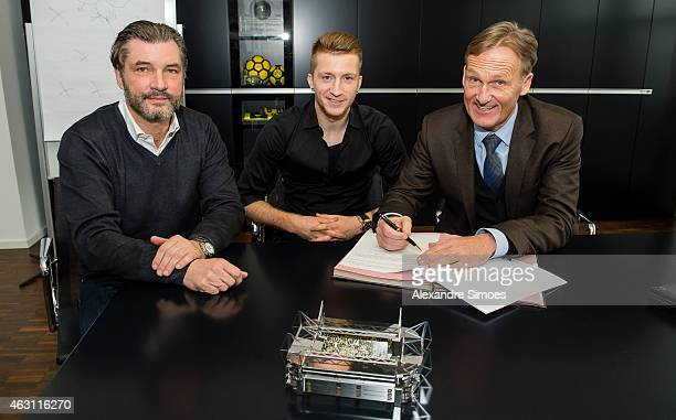 Borussia Dortmund Sports Director Michael Zorc Marco Reus of Borussia Dortmund and Borussia Dortmund CEO HansJoachim Watzke are seen as Marco Reus...