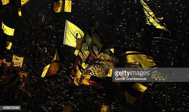Borussia Dortmund supporters are seen during the Bundesliga match between Borussia Dortmund and Hamburger SV at Signal Iduna Park on October 4 2014...