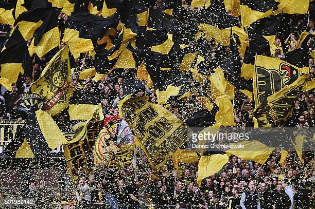 Borussia Dortmund supporters during the Bundesliga match between 1 FC Koeln and Borussia Dortmund at RheinEnergieStadion on December 19 2015 in...