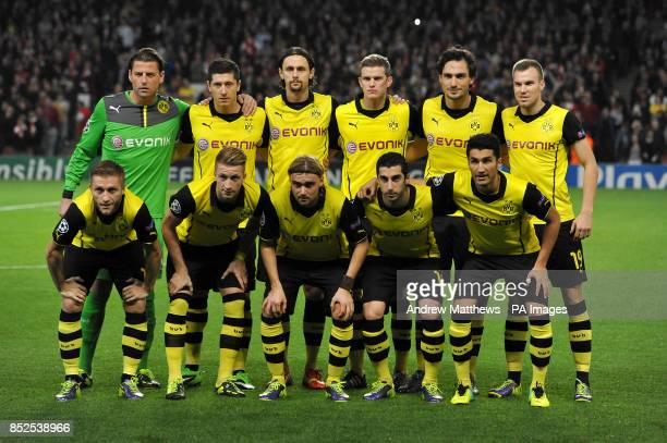 Borussia Dortmund team group goalkepeeper Roman Weidenfeller Robert Lewandowski Neven Subotic Sven Bender Mats Hummels and Kevin Grosskreutz Jakub...