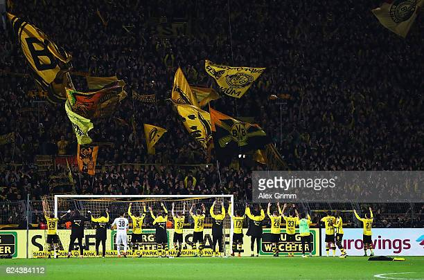 Borussia Dortmund thanks their fans after victory in the Bundesliga match between Borussia Dortmund and Bayern Muenchen at Signal Iduna Park on...