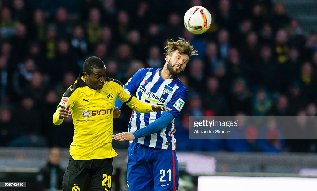 Borussia Dortmund's Adrian Ramos challenges Marvin Plattenhardt of Hertha in an aerial duel during the Bundesliga match between Hertha BSC and Borussia Dortmund at Olympiastadion on February 06, 2016 in Berlin, Germany.