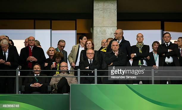 BERLIN GERMANY MAY Borussia Dortmund's Club President Dr Reinhard Rauball Chairman of the board HansJoachim Watzke General Manager Thomas...