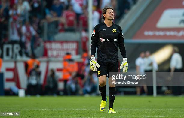 Borussia Dortmund's goal keeper Roman Weidenfeller looks dejected after the final whistle during the Bundesliga match between 1 FC Koeln and Borussia...