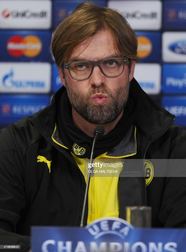 Borussia Dortmund's head coach Juergen Klopp attends a press conference in Russia's second city of Saint Petersburg, on February 24, 2014, on the eve of an UEFA Champions League Champions League last 16, first-leg football match between Borussia Dortmund and Zenit Saint Petersburg. AFP PHOTO / OLGA MALTSEVA