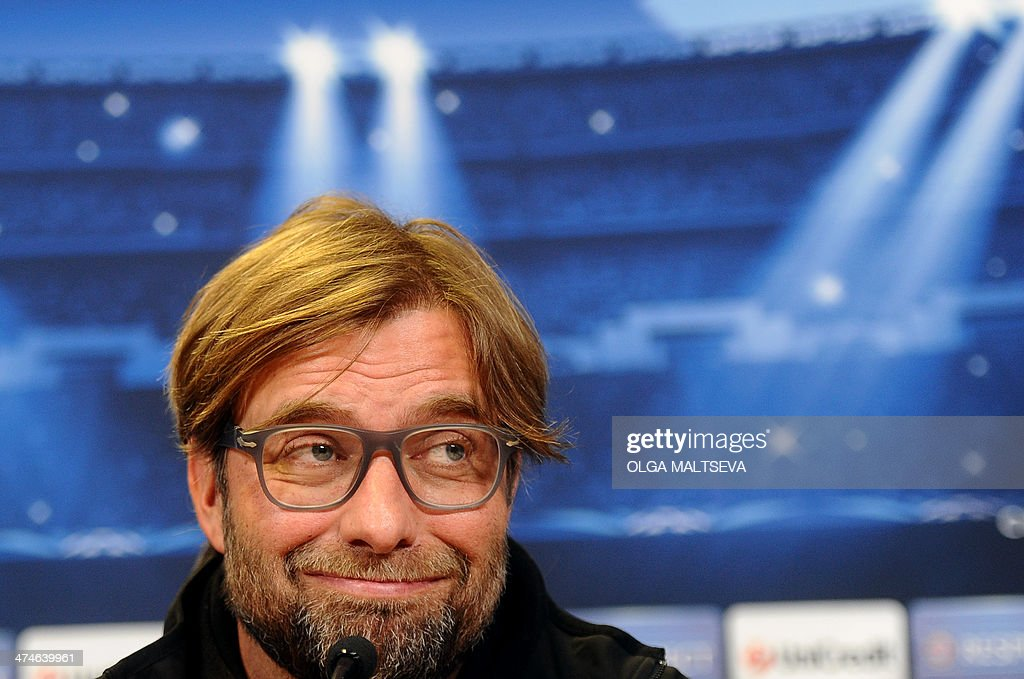 Borussia Dortmund's head coach Juergen Klopp attends a press conference in Russia's second city of Saint Petersburg, on February 24, 2014, on the eve of an UEFA Champions League Champions League last 16, first-leg football match between Borussia Dortmund and Zenit Saint Petersburg.