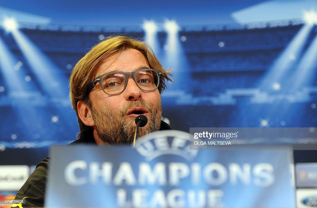 Borussia Dortmund's head coach Juergen Klopp speaks at a press conference in Russia's second city of Saint Petersburg, on February 24, 2014, on the eve of an UEFA Champions League Champions League last 16, first-leg football match between Borussia Dortmund and Zenit Saint Petersburg.