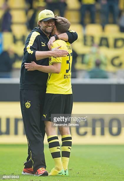 Borussia Dortmund's head coach Juergen Klopp with Erik Durm after the Bundesliga match between Borussia Dortmund and 1 FSV Mainz 05 at Signal Iduna...