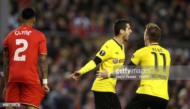 Borussia Dortmund's Henrikh Mkhitaryan celebrates scoring his side's first goal