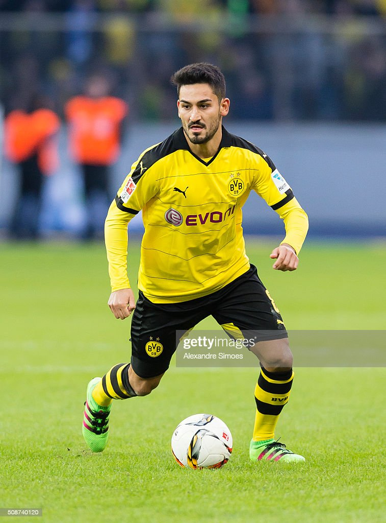 Borussia Dortmund's Ilkay Guendogan in action during the Bundesliga match between Hertha BSC and Borussia Dortmund at Olympiastadion on February 06, 2016 in Berlin, Germany.