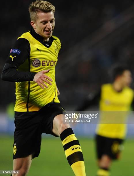 Borussia Dortmund's Marco Reus celebrates after scoring against Zenit Saint Petersburg during their UEFA Champions League Champions League last 16...
