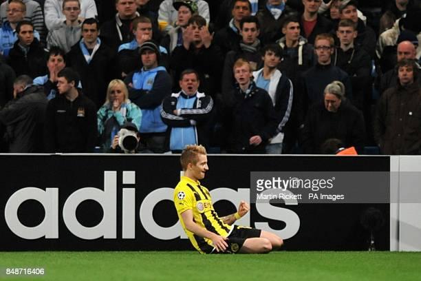 Borussia Dortmund's Marco Reus celebrates scoring their first goal of the game