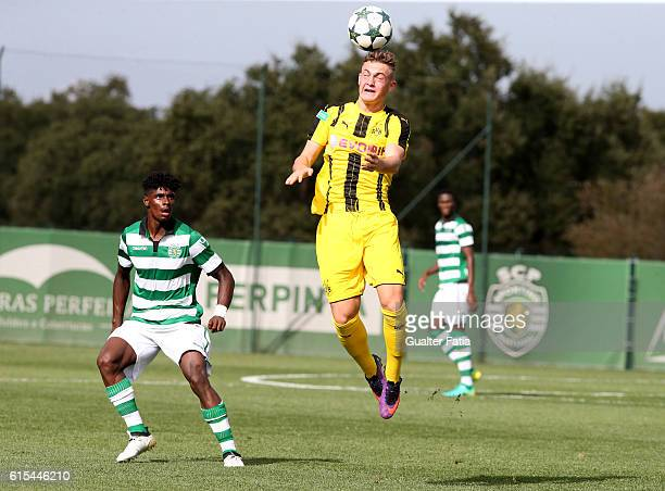 Borussia Dortmund's midfielder Jacob Bruun Larsen in action during the UEFA Youth Champions League match between Sporting Clube de Portugal and...