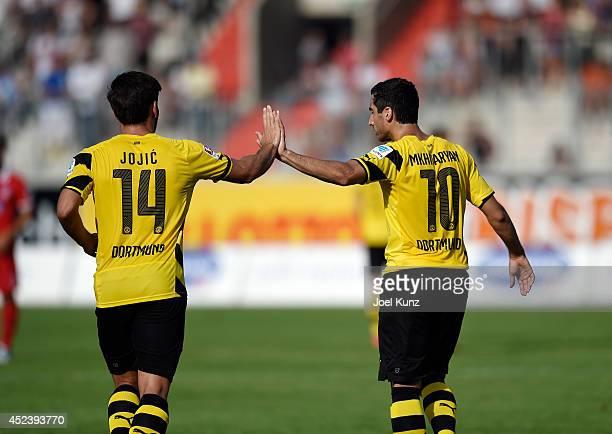 Borussia Dortmund's Milos Jojic and Henrikh Mkhitaryan celebrate a goal during the match between FC Heidenheim and Borussia Dortmund on July 19 2014...