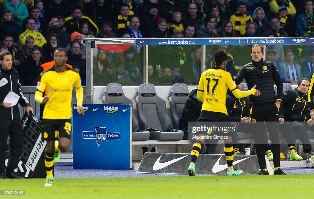 Borussia Dortmund's Pierre-Emerick Aubameyang and head coach Thomas Tuchel during the Bundesliga match between Hertha BSC and Borussia Dortmund at Olympiastadion on February 06, 2016 in Berlin, Germany.