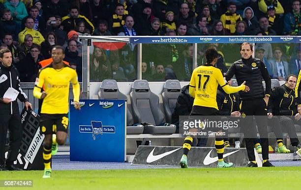 Borussia Dortmund's PierreEmerick Aubameyang and head coach Thomas Tuchel during the Bundesliga match between Hertha BSC and Borussia Dortmund at...