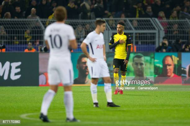 Borussia Dortmund's PierreEmerick Aubameyang celebrates scoring the opening goal during the UEFA Champions League group H match between Borussia...