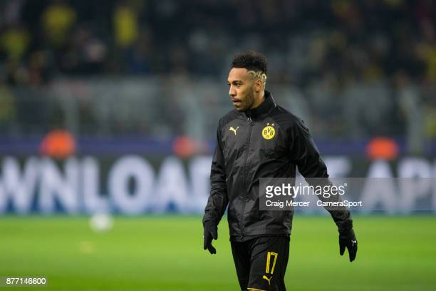 Borussia Dortmund's PierreEmerick Aubameyang during the prematch warmup during the UEFA Champions League group H match between Borussia Dortmund and...