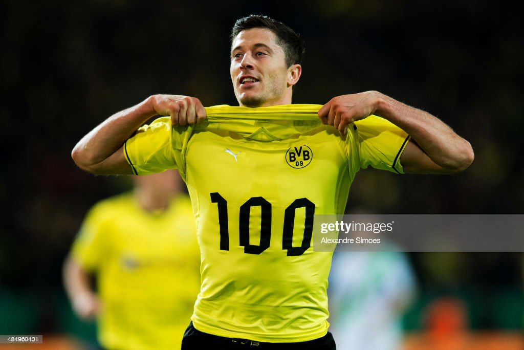 Borussia Dortmund's Robert Lewandowski scores the second goal during the DFB Cup Semi Final between Borussia Dortmund and VfL Wolfsburg at Signal Iduna Park on April 15, 2014 in Dortmund, Germany.