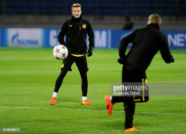 Borussia Dortmund's striker Marco Reus attends a training sessionin Russia's second city of Saint Petersburg on February 24 on the eve of an UEFA...