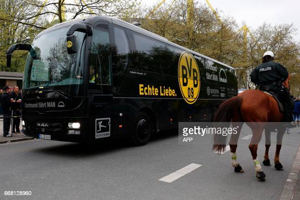 Borussia Dortmund's team bus arrives for the UEFA Champions League 1st leg quarterfinal football match BVB Borussia Dortmund v Monaco in Dortmund...