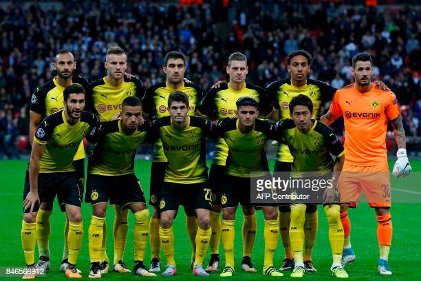 Borussia Dortmund's Turkish defender Omer Toprak Borussia Dortmund's Ukrainian striker Andriy Yarmolenko Borussia Dortmund's Greek defender Sokratis...