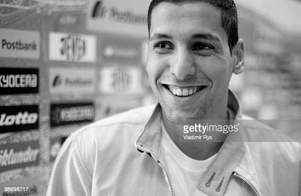 Borussia Moenchengladbach football star Karim Matmour is pictured during a meeting with the press at Borussia Park on April 27 2010 in...