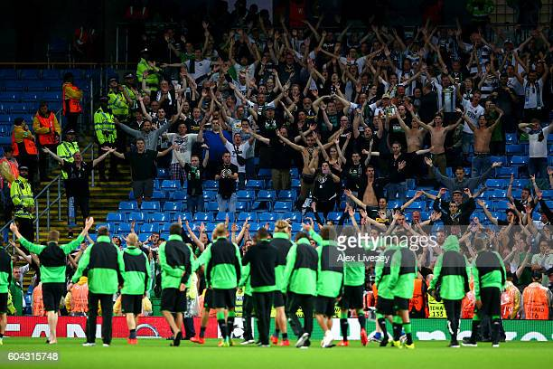 Borussia Moenchengladbach players applaud their supporters following the postponement of UEFA Champions League Group A match between Manchester City...