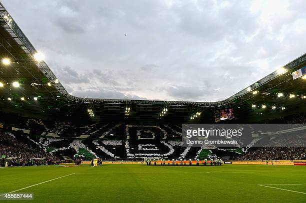 Borussia Moenchengladbach supporters show a choreography during the UEFA Europa League Group A match between Borussia Moenchengladbach and Villareal...