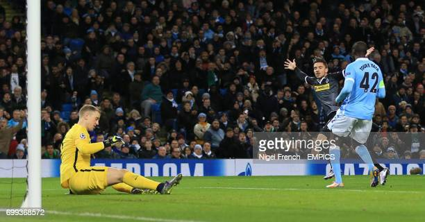 Borussia Monchengladbach's Julian Korb celebrates scoring his side's first goal of the game against Manchester City