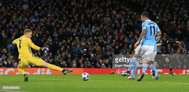 Borussia Monchengladbach's Julian Korb scores his side's first goal of the game against Manchester City