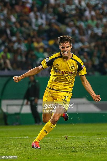 Borussias midfielder Julian Weigl from Germany celebrating after scoring a goal during the UEFA Champions League match between Sporting Clube de...