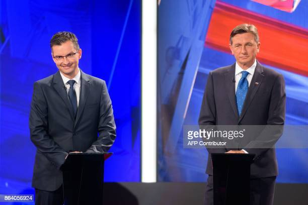 Borut Pahor presidential candidate and current President of Slovenia and Marjan Sarec presidential candidate and Mayor of Kamnik attend the last TV...