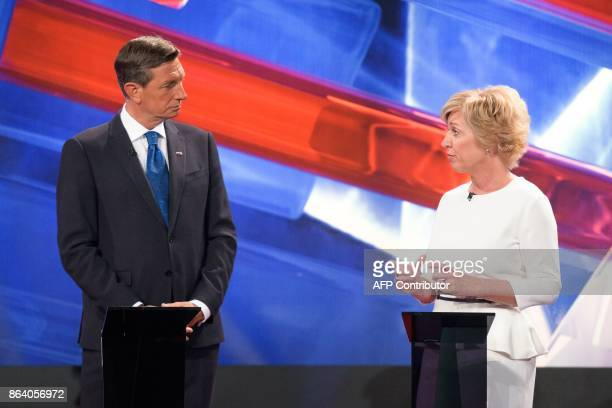 Borut Pahor presidential candidate and current President of Slovenia and Romana Tomc presidential candidate and Member of European Parliament attend...