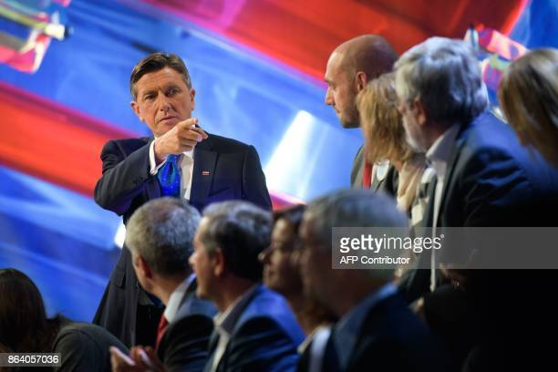 Borut Pahor presidential candidate and current President of Slovenia gestures during the last TV Presidential Debate ahead of the Presidential...